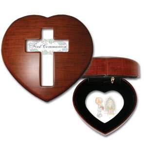 Precious Moments First Communion Boy Woodgrain Mini Heart Music Box