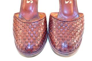 Vintage 70s Latinas Brazil Woven Leather Ankle Strap Shoes 8