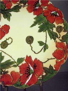 Nouveau HAND PAINTED POPPY PLATE PORCELAIN Arts & Crafts Era Antique