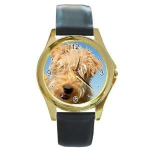 lakeland terrier Puppy Dog Round Gold Trim Watch Z0716
