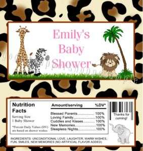 JUNGLE ZEBRA Baby Shower Candy Wrappers FAVORS Birthday