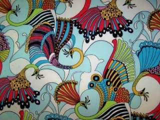 PEACOCK PRINT POLYESTER LYCRA STRETCH ITY FABRIC 1 YARD18 INCHES