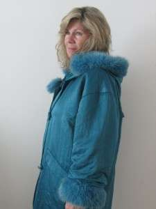 VTG LINDA LUNDSTROM TEAL WOOL LADIES LA PARKA FAUX FUR HOODED COAT