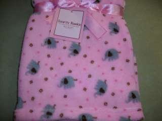 Fleece Baby Blanket Elephants Pink Gray Jungle New
