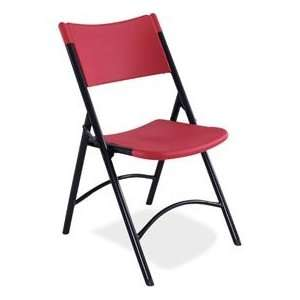 Blow Molded Resin Folding Chair   Red Plastic/Black Frame