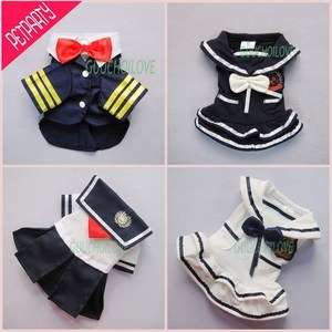 Stylish Nautical Sailor For Dog Clothes Pet Dress Shirt Costumes Free