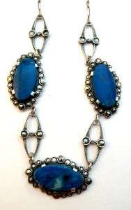 Antique Jugendstil Art Deco Sterling Silver Marcasite & Sodalite