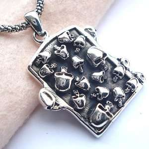 Mens Fashion Jewelry Skull Heads Pendant Silver Necklace