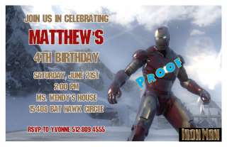Set of 10 Iron Man IronMan Personalized Invitations