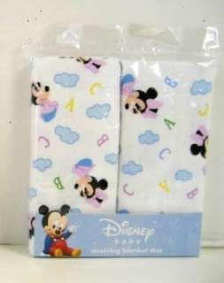 TWO Disney Baby Girl Mickey Mouse 2 pc Receiving Blankets