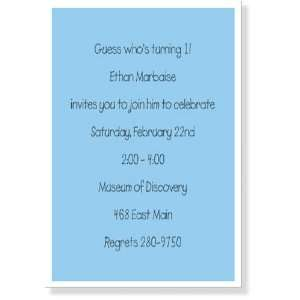 Birthday Party Invitations   Blue with White Border Invitation