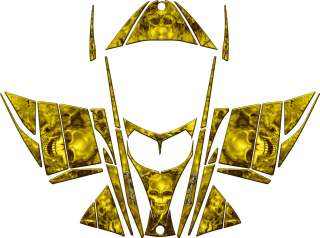 SKULL SLED WRAP for SKI DOO REV 03 07 mxz decal graphic yellow