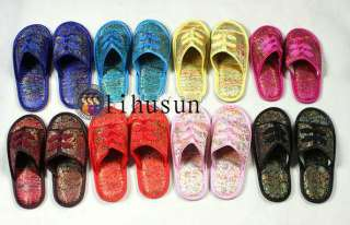 Wholesale50pairs silk satin Womens Men Shoes Slippers