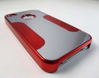 SILVER RED ALUMINUM CHROME METAL HARD CASE COVER APPLE IPHONE 4 4s