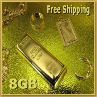 New 8GB Gold Bar USB 2.0 Flash Memory Stick Drive Pen