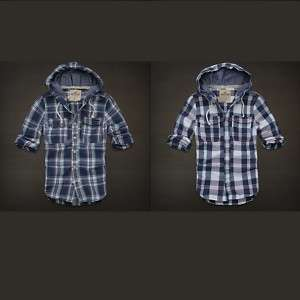 Hollister Mens Surfers Point Hoodie Plaid Shirt Button