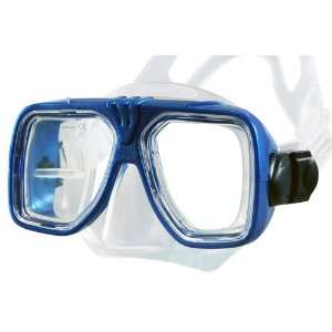 Scuba Diving & Snorkeling Mask with 2 Window View (Trans Blue