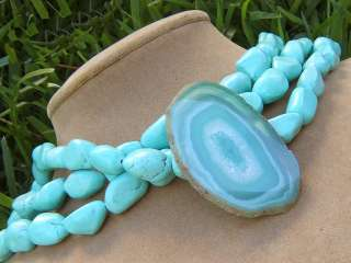 BIG NECKLACE AQUA blue GREEN SOFT TEAL AGATE GEODE SLICE PENDANT EARTH