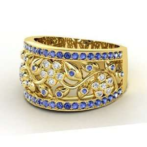 Daisy Chain Ring, 14K Yellow Gold Ring with Diamond