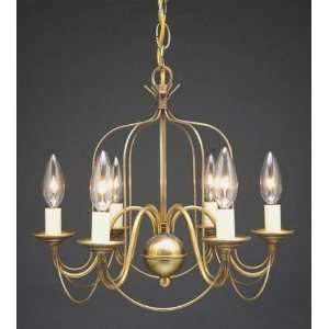Hanging Bird Cage Arms Raw Brass 6 Candelabra Sockets