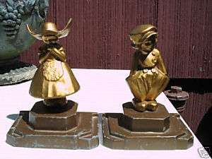 ANTIQUE ART DECO FRANKART BOOKENDS GIRL DRESS BOY DUTCH HAT STATUE