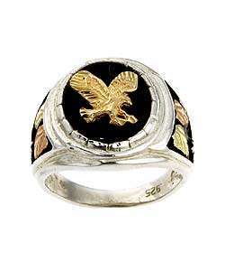 Black Hills Gold Silver Onyx Eagle Ring