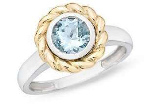 10k Two tone Gold Aquamarine Ring