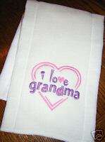 Baby/Infant Cloth Diaper Burp Pad  I LOVE GRANDMA