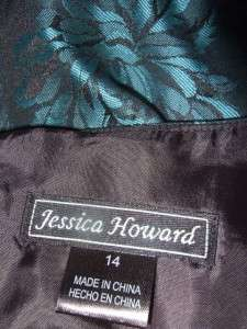 JESSICA HOWARD teal & black brocade beaded PARTY dress $159 nwt 14