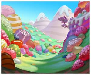 Personalized Candy Land Theme Edible Cake Topper Image