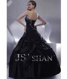 JSSHAN Black Strapless New Beaded Prom Long Party Formal Ball Gown