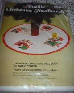Vintage NIGHT B4 CHRISTMAS Felt TREE SKIRT KIT Jeweled