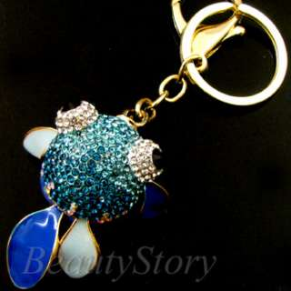 ADDL Item  Rhinestone Crystal GOLDFISH Key Chain Handbag