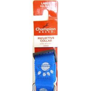 Nylon Dog Collar, Blue With Paw Prints Large, Size 18 26