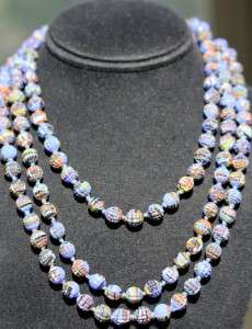 LONG VINTAGE ANTIQUE DECO CONFETTI SLAG ART GLASS BEAD NECKLACE D0419