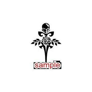 EVIL AND SKULLS CROSS WITH SKULL AND ROSE 12.5 WHITE VINYL DECAL