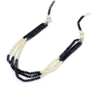 Long Fashion Necklace Set ; 36L; Cream Pearls with Navy Blue Faceted
