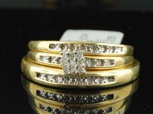 Yellow Gold Finish Diamond Engagement Ring Wedding Band Trio Set