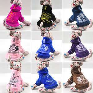 Various Dog Hoodie Hooded Velour Jacket Coat Clothes Apparel XS S M L