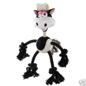 Grriggles Wild N Crazy Rope Plush Ball Dog Toy COW