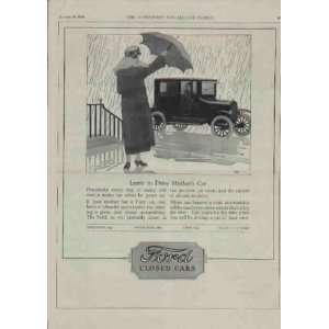 Learn to Drive Mothers Car  1924 Ford Closed Cars Ad