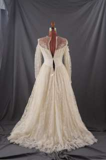 VINTAGE 50s SATIN PRINCESS Sheer LACE Wedding DRESS S
