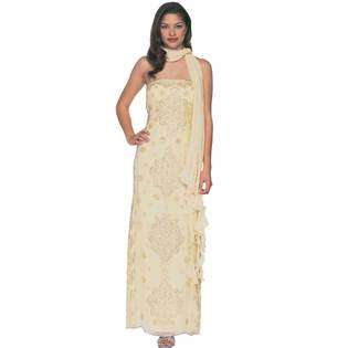 Formal Gallery Yellow Prom Dress. Womens Long Strapless Beaded Evening