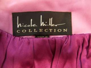 NICOLE MILLER Fuschia Stretch Crinkle Cocktail Dress 10