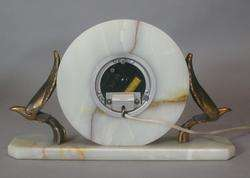 Art Deco White Onyx Clock w/ Cubist Birds Whitehall Hammond c. 1930s
