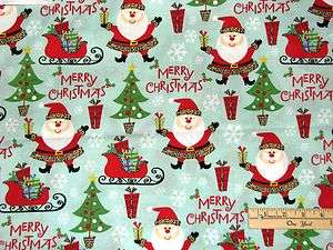Merry Christmas Santa with Leopard Skin Hat Christmas Fabric BTHY