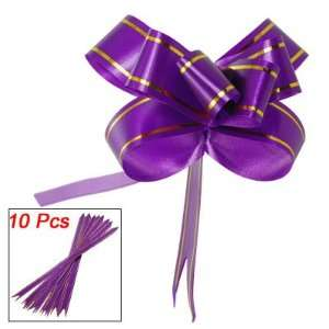 Amico Purple Gold Tone Pull Flower Ribbon Bows Gift Decor