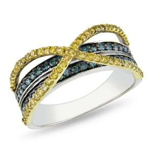 14k Multi colored Gold 1/2 CT TDW Yellow and Blue Diamond Criss Cross