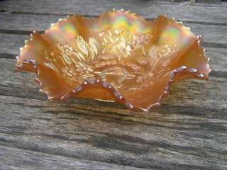 VINTAGE NORTHWOOD MARIGOLD GOODLUCK CARNIVAL GLASS BOWL
