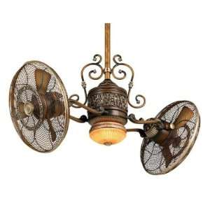 Gyro Belcaro Walnut Twin Turbo Ceiling Fan with Light Kit F502 BCW